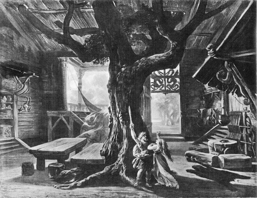 Valkyrjan í Bayreuth 1876. Sigmundur dregur sverðið úr stokkinum í húsi Hundings
