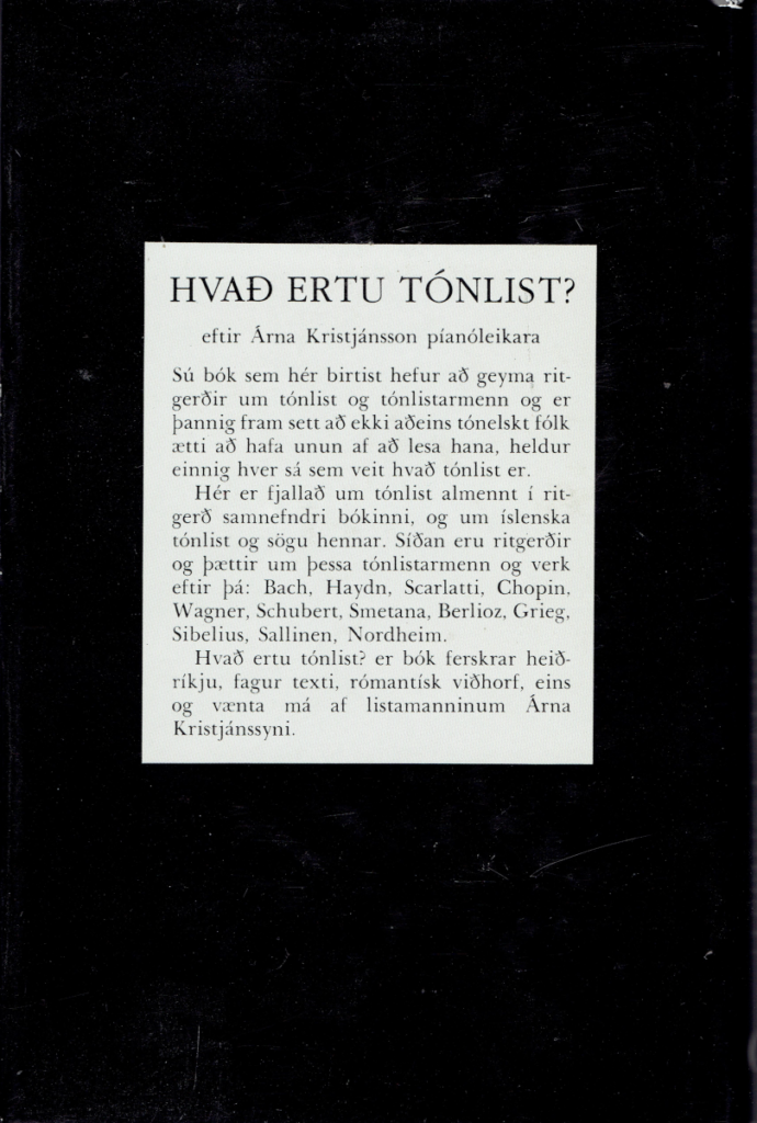 Hvað ertu tónlist-Baksíða