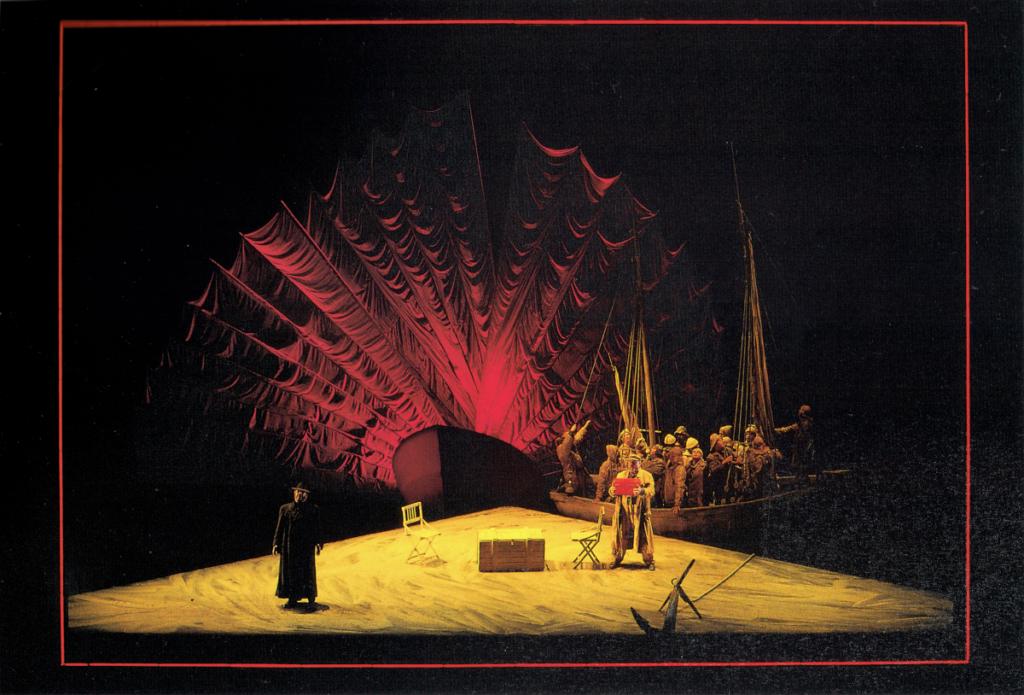 Hollendingurinn (fremst) hefur afhent Daland skipstjóra skartkistu sína.