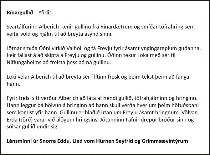 Rínargullið - Yfirlit