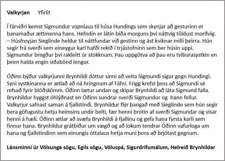 Valkyrjan - Yfirlit