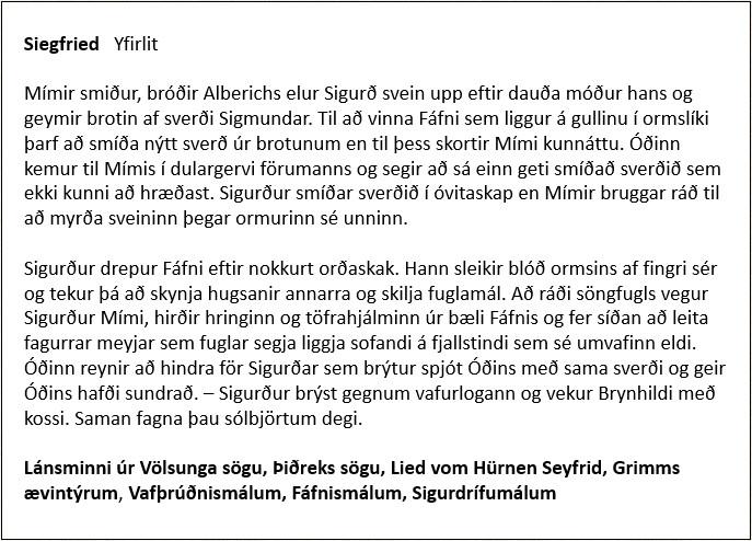 Siegfried - Yfirlit