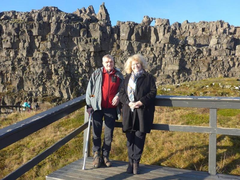 Eva Pasquire og Árni Björnsson á Þingvöllum