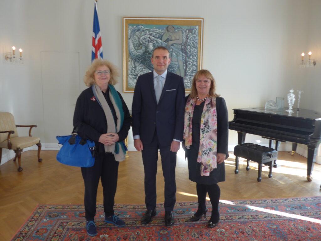 Á Bessastöðum - Eva Wagner-Pasquier, Guðni Jóhannesson og Selma Guðmundsdóttir