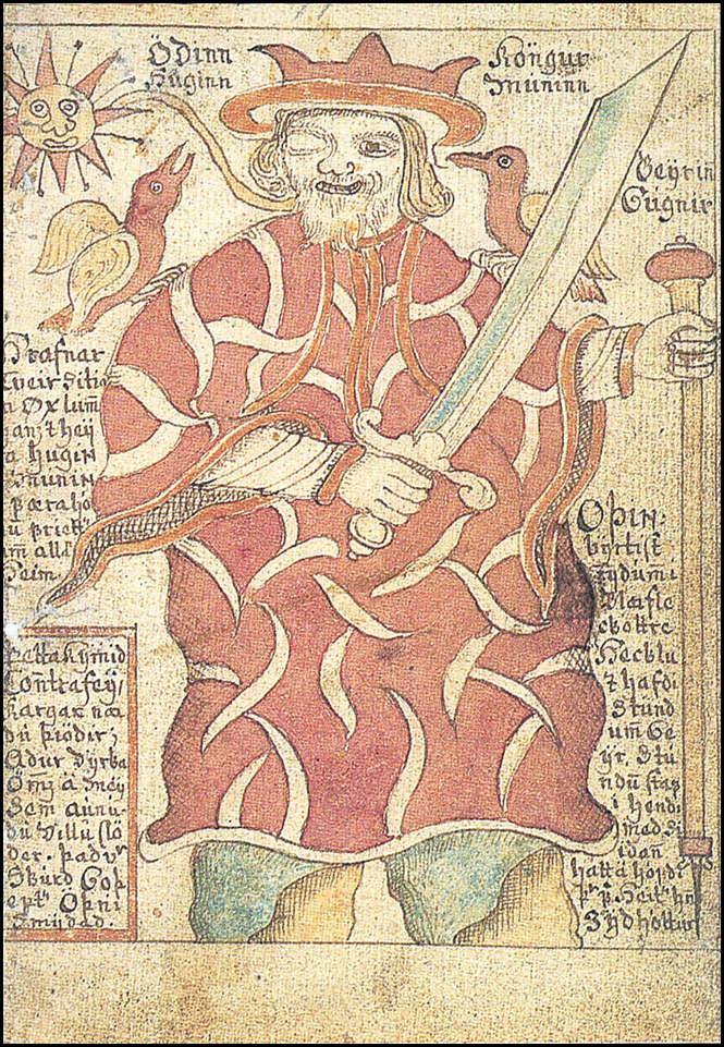 Óðinn kongurHuginn, Muninn
